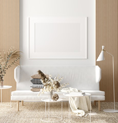 Fototapete - Mock up poster in warm Scandinavian style living room interior with wooden decor, 3d render