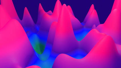 Photo sur Aluminium Rose abstract fantastic background, liquid gradient of paint with internal glow forms hills or peaks like landscape in subsurface scattering material, mat color transitions. Purple blue