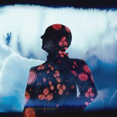Illustration Man Silhouette Coronavirus - Virus Blue and Red