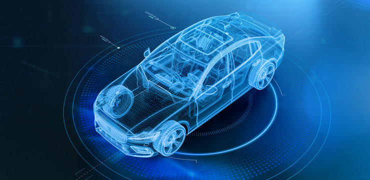 Wireframe of modern car with hi tech user interface details in dark environment (3D Illustration)