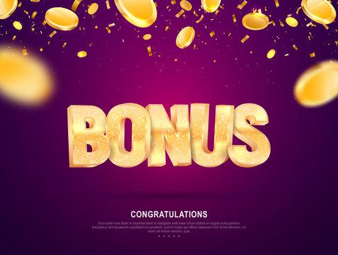 Golden shine bonus word vector banner for gambling. Illustration for casino or online games. Falling down coins on dark background with blur motion effect