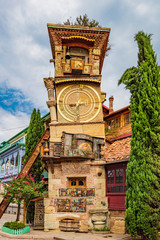 Fototapete - The Leaning Clock Tower Tbilisi Georgia Europe landmark