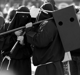 "Holy Week tradition, ""Farricocos"" walking in the city, Braga, Minho, Portugal."