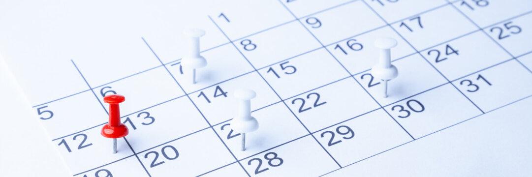 Tacks On Calendar Page/ 12th