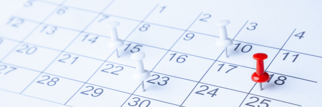 Tacks On Calendar Page/ 18th
