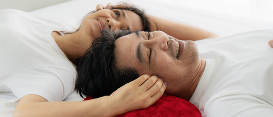 asian couple having romantic moment together