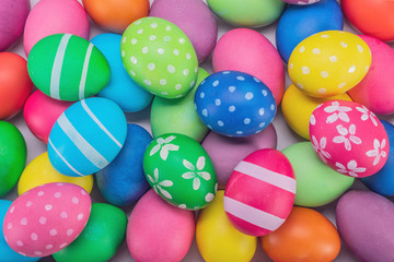 easter eggs multicolored close up background