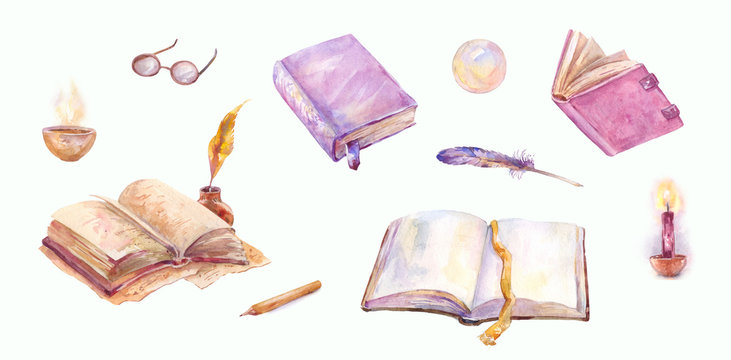 Watercolor old books set. Magical sketches in vintage style isolated on white. Pen, candle, magic ball, feather and old notebooks. Book writing process