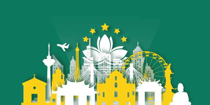 Macau Travel postcard, poster, tour advertising of world famous landmarks in paper cut style. Vectors illustrations