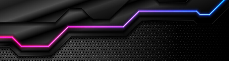 Futuristic perforated technology abstract background with blue purple neon glowing line. Vector banner design