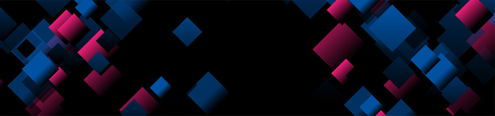 Dark blue and purple small squares abstract banner design. Technology vector background Wall mural