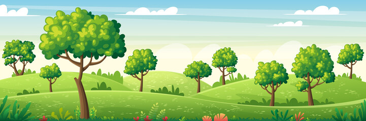 Fototapeten Pool Panorama summer landscape with trees, flowers and meadows. Vector Illustrations with separate layers. Concept for banner, web background and templates.