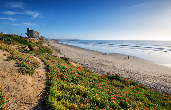 Looking southward down Pacific Beach to Crystal Pier on a sunny Winter afternoon