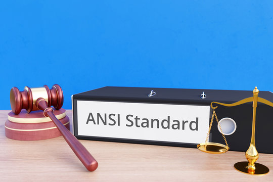 ANSI Standard – File Folder with labeling, gavel and libra – law, judgement, lawyer
