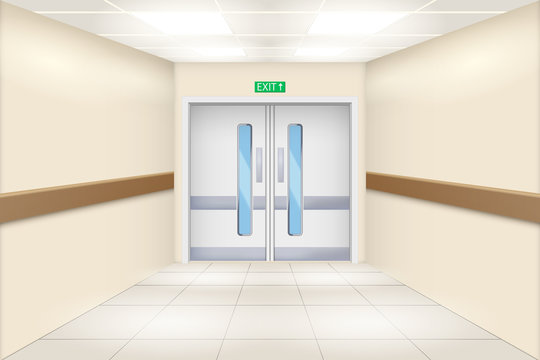 Hospital hall and double doors. Perspective view of Emergency entrance. Vector Illustration