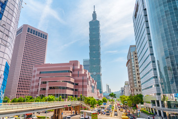 Awesome view of Xinyi Road and Taipei 101, Taiwan