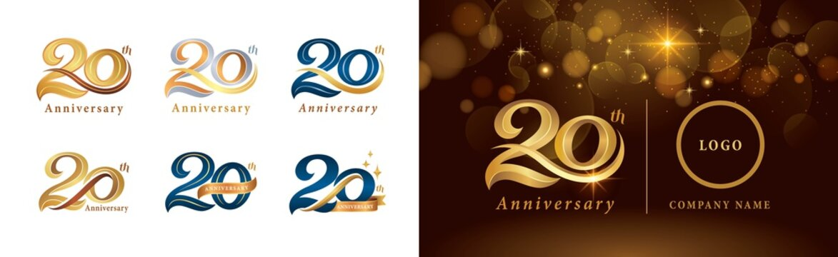 Set of 20th Anniversary logotype design, Twenty years Celebrating Anniversary Logo