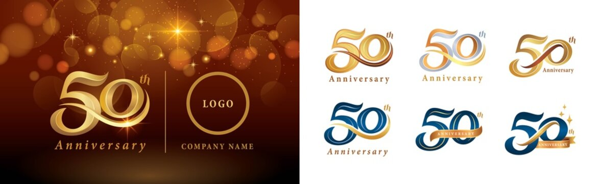 Set of 50th Anniversary logotype design, Fifty years Celebrating Anniversary Logo