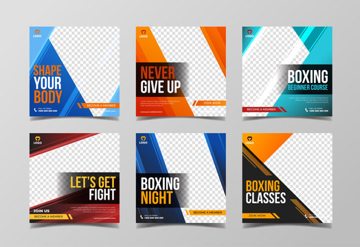 Sport square banner template for social media post, boxing, fitness and gym banner