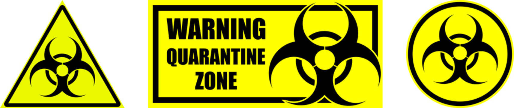 set of yellow biohazard signs and quarantine zones on transparent background