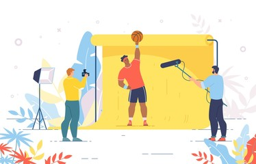 Basketball Player Posing for Photo and Recording Video. Photographer and Cameraman Shooting Crew Working with Sportsman Character. Professional Photosession with Champion. Vector Illustration
