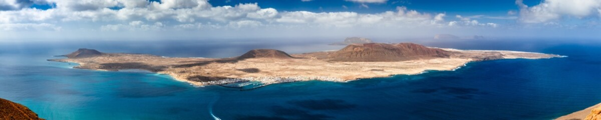Garden Poster Canary Islands Panorama of La Graciosa island in Canary islands
