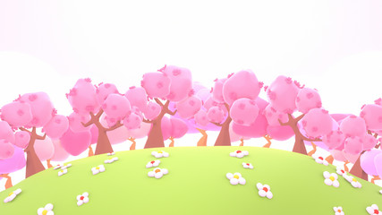 Wall Mural - Cartoon cherry blossom trees on green grass mountains. 3d rendering picture.