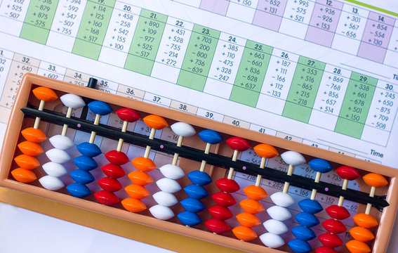 Mental arithmetic and development concept, abacus and mathematical examples on a white background
