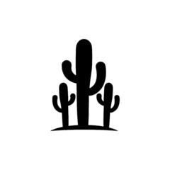 Fototapeta Simple Black Cactus icon on white background obraz