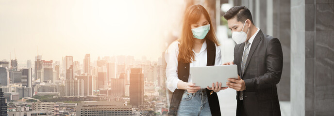 People pay attention to the virus alerts coming from contact. And the respiratory system, business man and women standing, wearing a mask