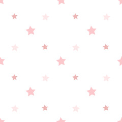Seamless pattern in charmed light pink stars on white background for plaid, fabric, textile, clothes, tablecloth and other things. Vector image.
