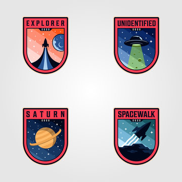 space mission patches logo vector sets, premium badges logo