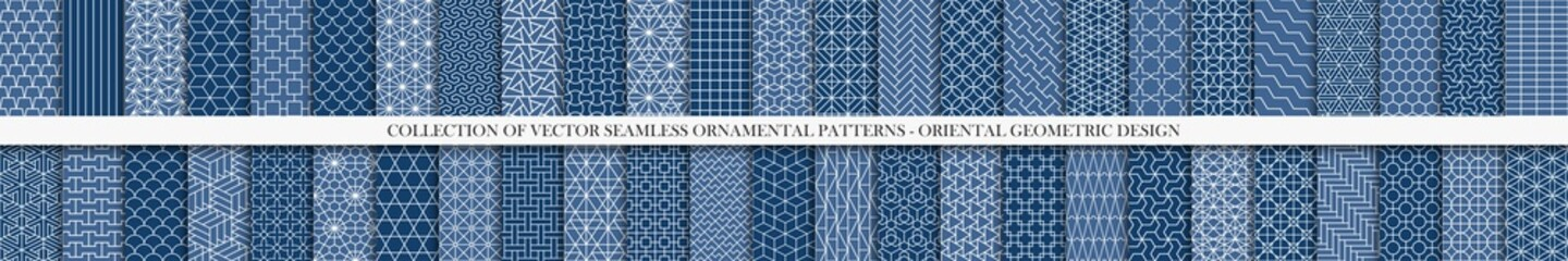 Keuken foto achterwand Kunstmatig Collection of seamless geometric ornamental vector patterns. Tile oriental backgrounds. Trendy blue design