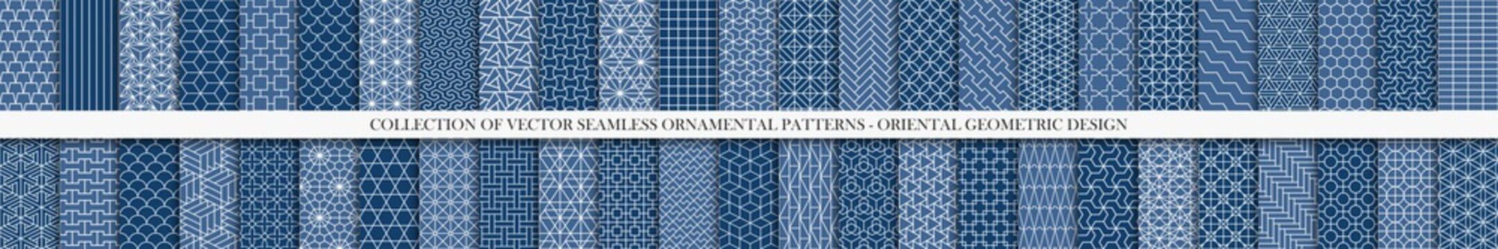 Collection of seamless geometric ornamental vector patterns. Tile oriental backgrounds. Trendy blue design