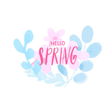 Hello spring text on pastel pink watercolor cherry blossom flowers and blue painted branches. Delicate fresh nature design element