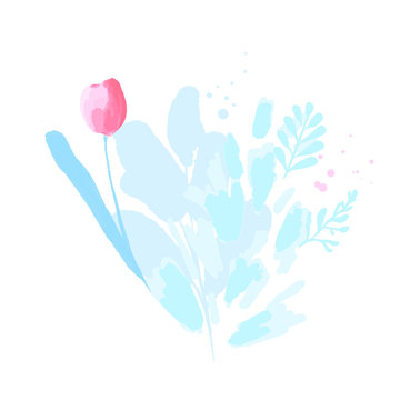 Watercolor tulip with soft pastel pink leaves. Loose painting of flower composition for greeting cards and feminine design. Simple and delicate vector blooming plant on white background