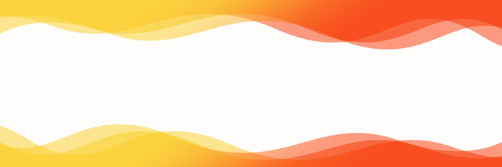 Abstract orange and yellow waves background isolated on white, Panoramic banner background with copy space