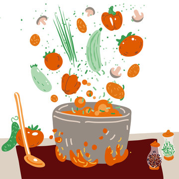 Making vegetarian soup vector concept. Pot with bulbing delicious veg food on a fire and all ingredients around it - vegetables, greenery, seasonings and Flavoring. Professional and Home cooking.