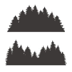 Forest silhouette for emblem and logo nature theme