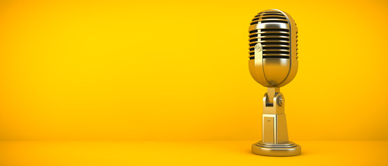 gold microphone on yellow background