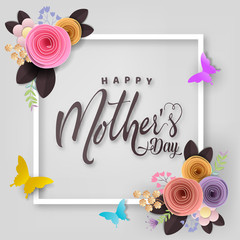 Happy Mother's day card, flower paper cut with butterfly on white background, vector illustration.