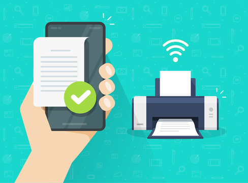 Printer printing document wirelessly from mobile phone or smartphone wifi connection vector flat cartoon illustration, file air print on fax or ink jet via cellphone bluetooth modern design image