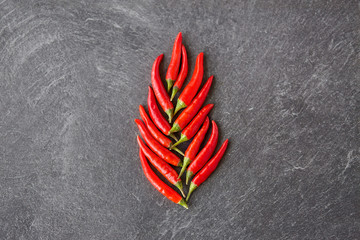 Canvas Prints Hot chili peppers cooking, food and culinary concept - red chili or cayenne pepper on slate stone surface