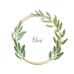 Watercolor floral illustration with olive branches wreathWatercolor floral illustration - leaf wreath, frame with gold geometric shape, for wedding stationary, greetings, wallpapers, fashion.