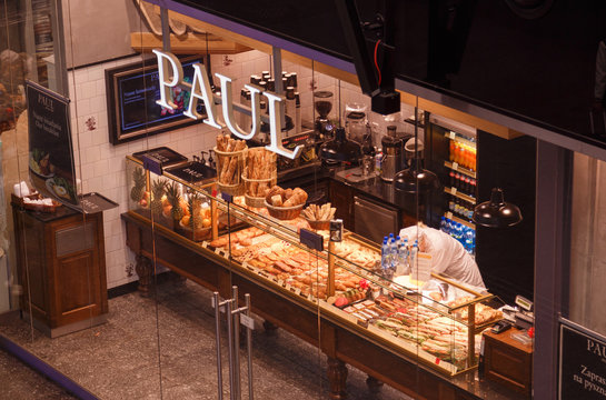 WARSAW, POLAND - SEPTEMBER 17, 2019: Showcase of pastry traditional french bakery Paul at the central railway station.