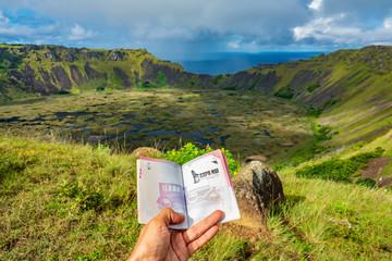 Showing passport to Rano Kau volcano in Rapa Nui Fototapete