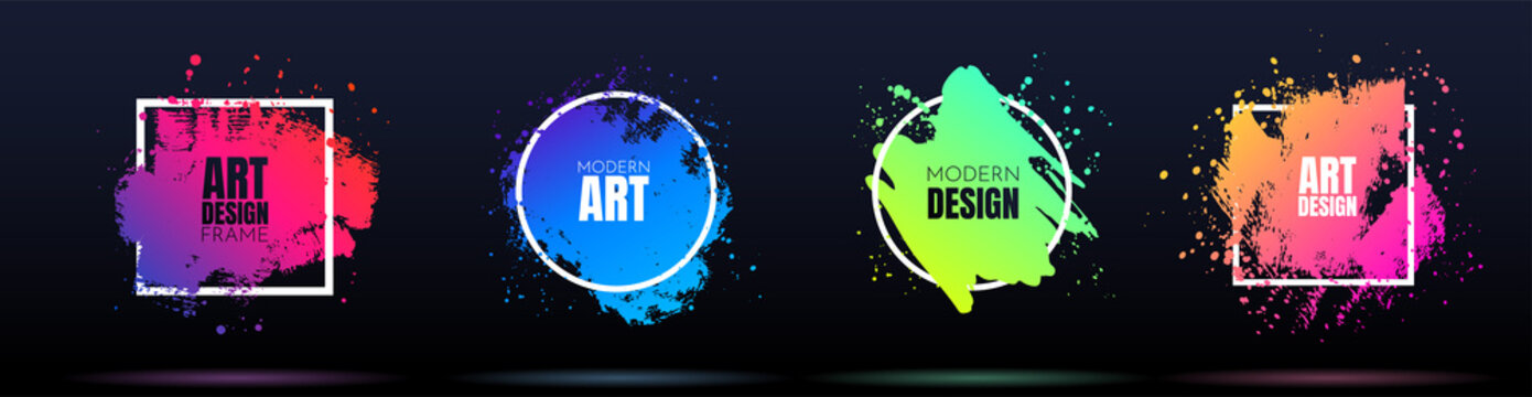 Vector frame for text. Modern Art graphics. Dynamic frame stylish geometric black background. Element for design business cards, invitations, gift cards, flyers and brochures. Ink brush paint splashes