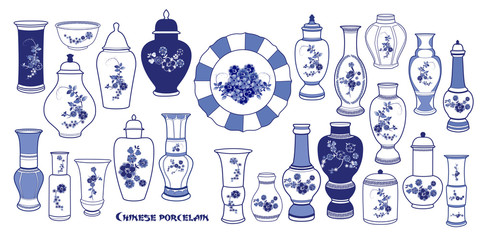 . Blue and  White Chinese Porcelain Vases set. Collection of antique objects of various shapes. Vector illustration. Fototapete