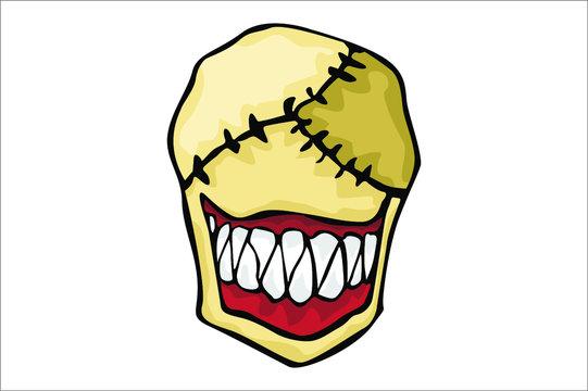 Halloween illustration of smile serial killer monster