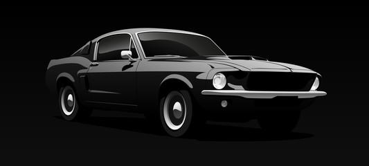 Foto auf Acrylglas Cartoon cars Muscle car in black. Vector illustration.